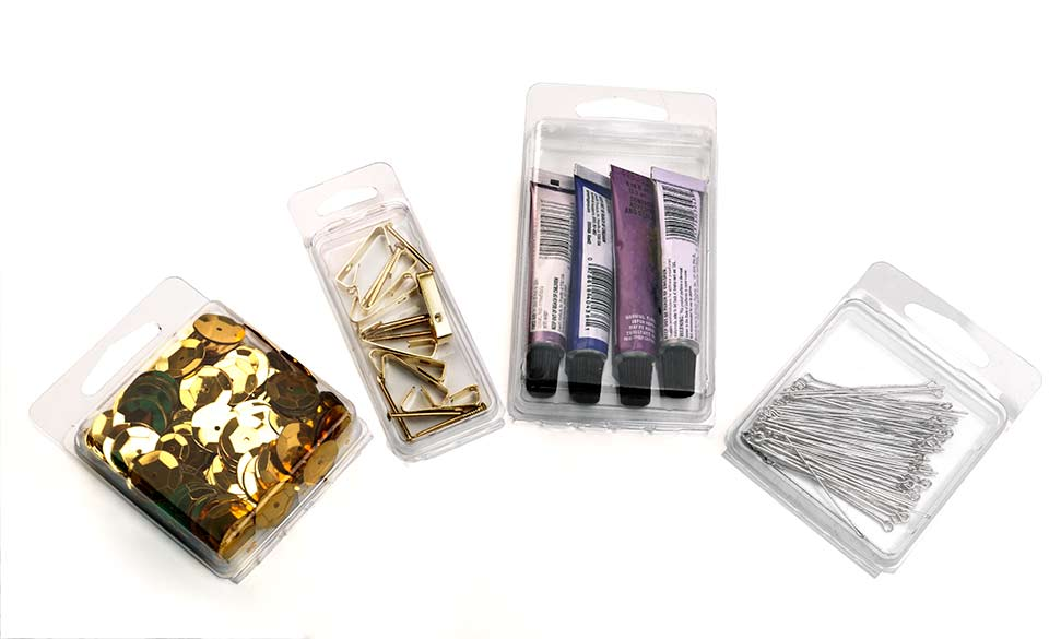 Clear Clamshell Boxes with packaged products