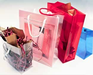 Poly propylene totes rope handle gift bags translucent colors clear colored gift bags negle Gallery