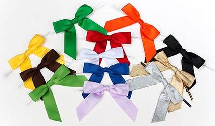 Satin Bows Pre Tied Built In Twist Ties 12 Colors