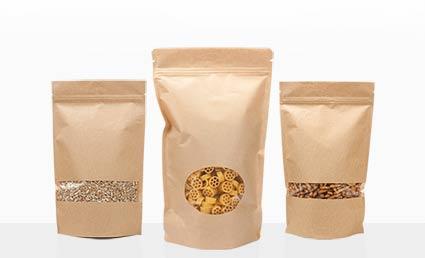 Kraft Zipper Pouches Food Packaging Treats Granola