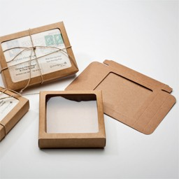 Kraft paper 1 piece window boxes for greeting cards stationery these boxes are an easy eco friendly way to present your cards m4hsunfo