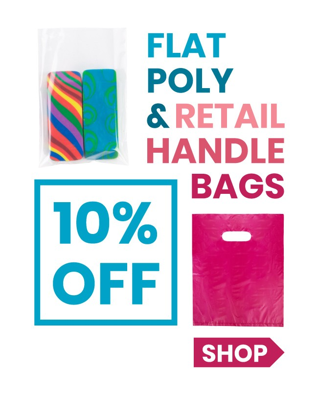 10% Off Poly Flat Bags & Retail Handle Bags