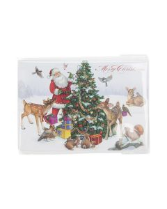 Holiday cards inside clear protective sleeve