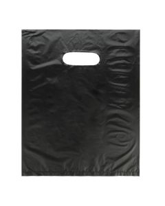 "12"" x 15"" Black Handle Bag 0.7 Mil HDPE (100 Pieces) [H1215BK3]"