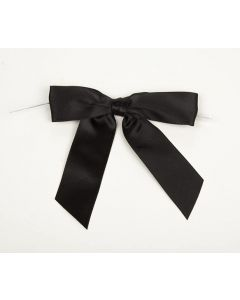 "3 1/2"" Black Pre-tied Bow (100 Pieces) [BOW7BL]"