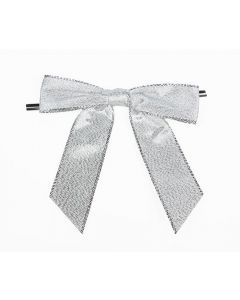 "3 1/2"" Metallic Silver Pre-tied Bow (100 Pieces) [BOW7MS]"