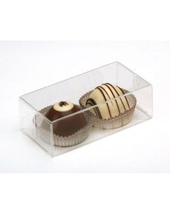Two chocolate pieces in plastic box