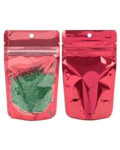 front and rear view of bright red stand up zipper pouch