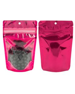 front and rear view of stand up pouch with tear notches and hang hole