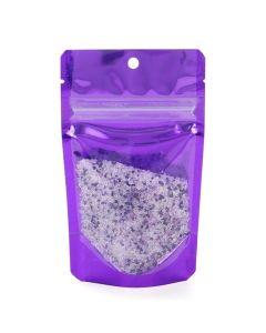 Food safe violet backed hanging zipper pouch