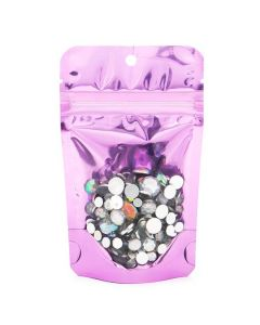 Gems inside clear front with pink back panel stand up bag