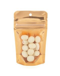 Food safe stand up pouch in peach