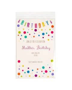 Crystal Clear flap seal bag with invitation