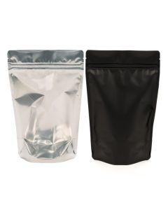 Clear front black back zipper pouch bag