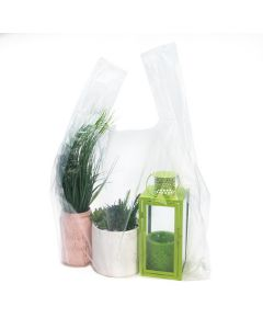 clear poly handle bag | 20x10x30