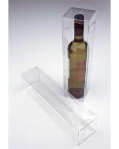 "3 3/8"" x 3 3/8"" x 12 5/8"" Clear Wine Box with a Pop & Lock Bottom (25 Pieces) [PLB176]"