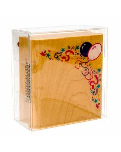 Clear box with stamp