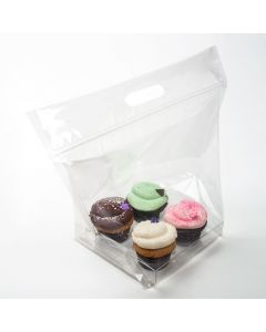 clear cupcake bag set for 4   14 1/2 x 7 x 11 1/4