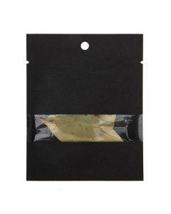 "3"" x 4"" Black Kraft Compostable Heat Seal Bags w/ Window (100 Pieces) [KHS34BKW]"
