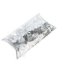 """3 15/16"""" x 1 9/16"""" x 6 11/16"""" silver embossed pillow box"""