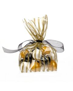 Gold Strip Treat Bag with Gumballs
