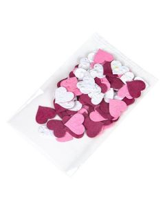 Bottom seal poly bag with heart confetti