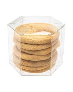 stack of cookies inside clear hexagon box