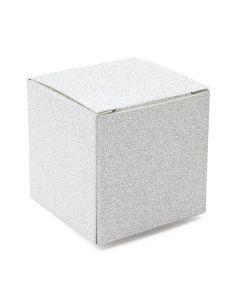 """2"""" x 2"""" x 2"""" silver glitter folding box"""