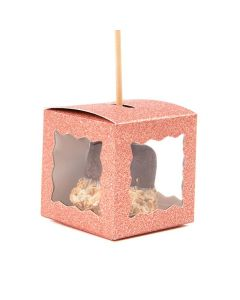 "2"" x 2"" x 2"" Rose Gold Glitter 3 Sided Window Box (25 Pieces) [FB1RGW]"
