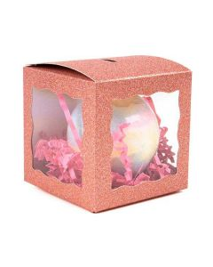"3"" x 3"" x 3"" Rose Gold Glitter 3 Sided Window Box (25 Pieces) [FB2RGW]"