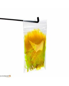 Clear hanging zipper bag with yellow feathers