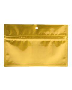 6 x 2 3/4 hanging gold zipper bag