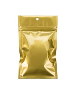 Gold reclosable bag with hang hole