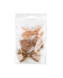 Flap seal crystal clear hanging bag with bows