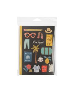 Stationery inside crystal clear hanging bag