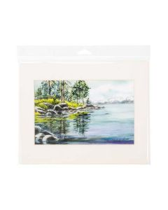 Framed print inside clear hanging bag