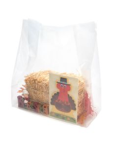 clear square bottom bag with harvest decor - 16 x 8 x 22