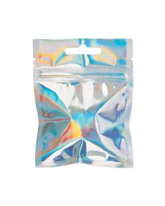 "3"" x 3"" Holographic Hanging Zipper Barrier Bags (25 Pieces) [HZBB33H]"
