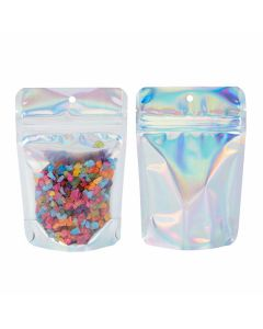 """4"""" x 2 3/8"""" x 6"""" (Outer Dimensions) Holographic Backed Stand Up Pouch w/ Hang Hole (25 Pieces) [ZBGH2C]"""