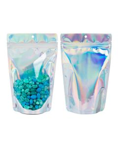 """5 1/8"""" x 3 1/8"""" x 8 1/8"""" (Outer Dimensions) Holographic Backed Stand Up Pouch w/ Hang Hole (25 Pieces)[ZBGH3C]"""