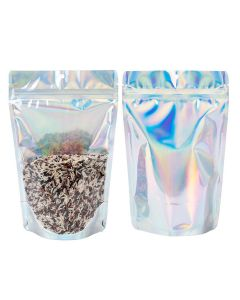 """5 7/8"""" x 3 1/2"""" x 9 1/8""""(Outer Dimensions) Holographic Backed Stand Up Pouch w/ Hang Hole (25 Pieces)[ZBGH7C]"""