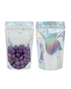 """6 3/4"""" x 3 1/2"""" x 11 1/4""""(Outer Dimensions) Holographic Backed Stand Up Pouch w/ Hang Hole (25 Pieces)[ZBGH4C]"""