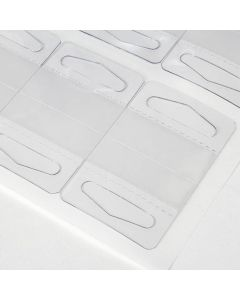 Clear Plastic Hang Tab - Sheet of 20 (Delta Hole) [HT4]