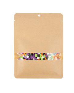 "5"" x 7"" Kraft Compostable Heat Seal Bags w/ Window (100 Pieces) [TB334]"