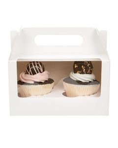 White double cupcake box with window