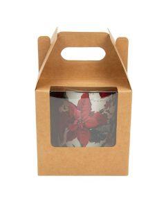 """4"""" x 4"""" x 4"""" Kraft Paper Handle Box w/ Window (25 Pieces) [WKRG57]"""