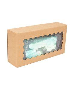 """2 3/4"""" x 1 7/16"""" x 5 1/2"""" Kraft Paper Window Box w/ Scalloped Window (25 Pieces) [WKRG11]"""