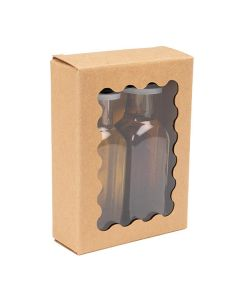 """2 5/8"""" x 1"""" x 3 9/16"""" Kraft Paper Window Box w/ Scalloped Window (25 Pieces) [WKRG172]"""