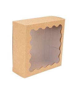 """4 1/4"""" x 1 5/8"""" x 4 1/4"""" Kraft Paper Window Box w/ Scalloped Window (25 Pieces)[WKRG194]"""