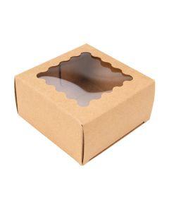 """2 3/4"""" x 1 7/16"""" x 2 3/4"""" Kraft Paper Window Box w/ Scalloped Window (25 Pieces)[WKRG227]"""